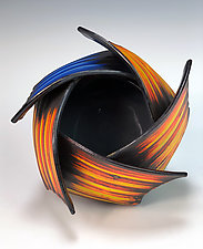 Ikebana with Blue Accent by Thomas Harris (Ceramic Vessel)