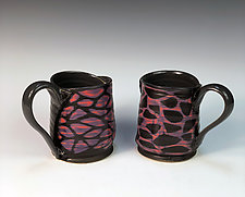Mirrored mugs-purple by Thomas Harris (Ceramic Cups & Mugs)