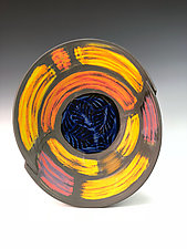 Folded Sanded Bowl with Gold by Thomas Harris (Ceramic Plate)