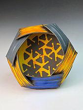 Mise en Abyme with pinwheel background II by Thomas Harris (Ceramic Wall Sculpture)
