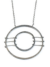 Double Circle Horizon Necklace by Nikki Nation (Silver Necklace)