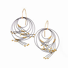 Large Vertigo Earrings by Meghan Patrice  Riley (Gold, Steel & Stone Earrings)