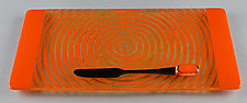 Small ColorCentric Orange Serving Plank by Terry Gomien (Art Glass Tray)