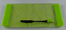 Small ColorCentric Green Serving Plank by Terry Gomien (Art Glass Tray)