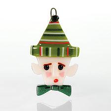 Santa's Little Helper by Terry Gomien (Art Glass Ornament)