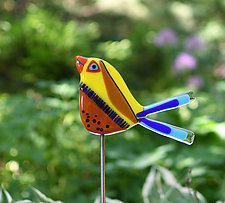 Napoleon and Josephine Garden Birds by Terry Gomien (Art Glass Sculpture)