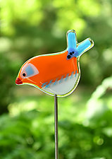Lucy and Ethel Garden Birds by Terry Gomien (Art Glass Sculpture)