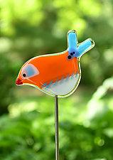 Lucy and Ethel Garden Birds by Terry Gomien (Art Glass Sculpture)
