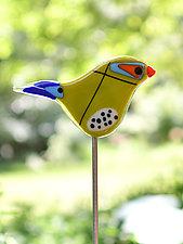 Twister and Scout Garden Birds by Terry Gomien (Art Glass Sculpture)