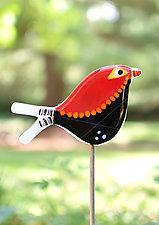 Carmen and Lovey Garden Birds by Terry Gomien (Art Glass Sculpture)