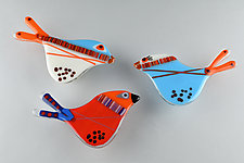 Playful Plumage by Terry Gomien (Art Glass Wall Sculpture)