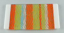 Beachy Serving Plank by Terry Gomien (Art Glass Tray)