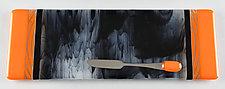 Slim Tangerine Storm by Terry Gomien (Art Glass Tray)