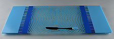 Large ColorCentric Blue Serving Plank by Terry Gomien (Art Glass Platter)