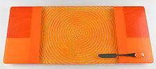 Large Orange Blocks Tangerine ColorCentric by Terry Gomien (Art Glass Tray)