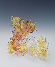 Trio Glass Leaf Sculpture in Gold Fume by Jacqueline McKinny (Art Glass Sculpture)