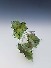 Trio Glass Leaf Sculpture in Green by Jacqueline McKinny (Art Glass Sculpture)