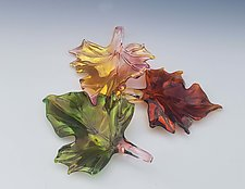 Set of Three Glass Leaves by Jacqueline McKinny (Art Glass Sculpture)