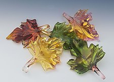 Set of Five Glass Leaves by Jacqueline McKinny (Art Glass Sculpture)