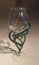 Teal-Green String Theory Goblet #1033 by Jacqueline McKinny (Art Glass Sculpture)