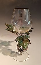 Teal-Green Leaf Goblet #1719 by Jacqueline McKinny (Art Glass Sculpture)
