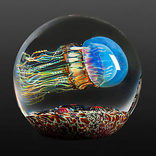 Moon Jellyfish Side Swimmer by Richard Satava (Art Glass Paperweight)