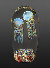 Moon Jellyfish Double by Richard Satava (Art Glass Sculpture)