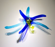 Czar Aqua Cobalt Lime Lily by April Wagner (Art Glass Wall Sculpture)