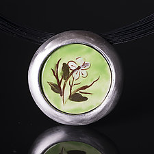 Porcelain Pendant with Handpainted White Flower by Diana Eldreth (Ceramic Necklace)