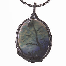 Oxdized Sterling Reversible Pendant with Porcelain Designs by Diana Eldreth (Ceramic Necklace)
