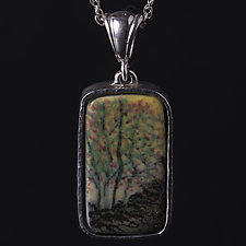Sterling Silver Pendant with Bright Porcelain Tree Designs by Diana Eldreth (Ceramic Necklace)