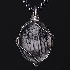 Dramatic Reversible Black and White Forest Pendant by Diana Eldreth (Ceramic Necklace)