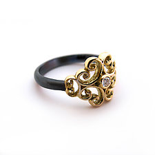 Rustic Rosette Ring by Veronica Eckert (Gold, Silver & Stone Ring)