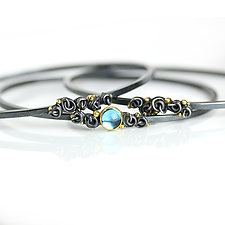 Swiss Blue Topaz and French Knots Bangle by Wendy Stauffer (Gold, Silver & Stone Bracelet)