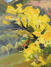 Yellow Tree/Red Barn by Meredith Nemirov (Oil Painting)