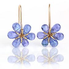 Tanzanite Flower Dangles by Wendy Stauffer (Gold & Stone Earrings)