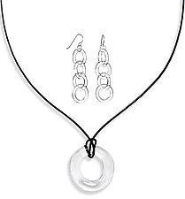 Circle Pendant Neckace and Circle Chain Earrings by Roxann Slate (Art Glass Jewelry)