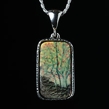 Sterling Silver Pendant with Bright Porcelain Trees by Diana Eldreth (Jewelry Necklaces)