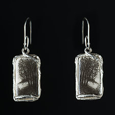 Reversible Rectangle Porcelain Earrings with Field and Forest Design by Diana Eldreth (Ceramic Earrings)
