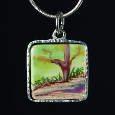 Porcelain Pendant with Bright Tree by Diana Eldreth (Ceramic Necklace)