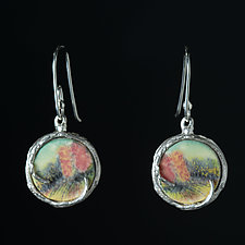 Reversible Porcelain Earrings with Trees by Diana Eldreth (Ceramic Earrings)