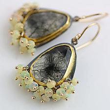 Black Rutilated Quartz Earrings with Opal Fringe by Wendy Stauffer (Gold, Silver & Stone Earrings)