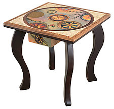End Table with Circle Pattern by Sticks  (Wood Side Table)
