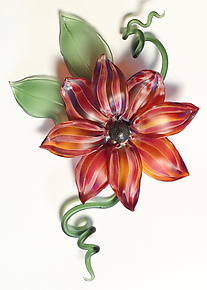 Sunrise Flora by Demetra Theofanous (Art Glass Wall Sculpture)
