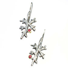 Fractal Lichen Ruby Earrings by Renee Ford (Silver & Stone Earrings)