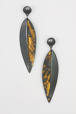 Leaf  Pod Earrings by Marcia Meyers (Gold & Silver Earrings)