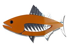 Painted Tuna Wall Piece by Mark Gottschalk (Metal Wall Sculpture)