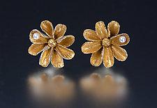 Daisy Earrings with Pearls by Carol Salisbury (Gold, Silver & Pearl Earrings)