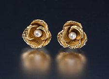 Rosebud and Pearl Earrings by Carol Salisbury (Gold, Silver & Pearl Earrings)