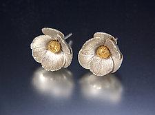 Icelandic Poppy Earrings by Carol Salisbury (Gold & Silver Earrings)